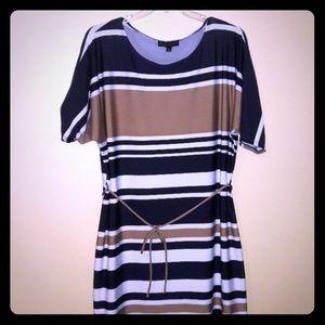 Karin Stevens Dress sz 2 x Blue Tan White Stripes
